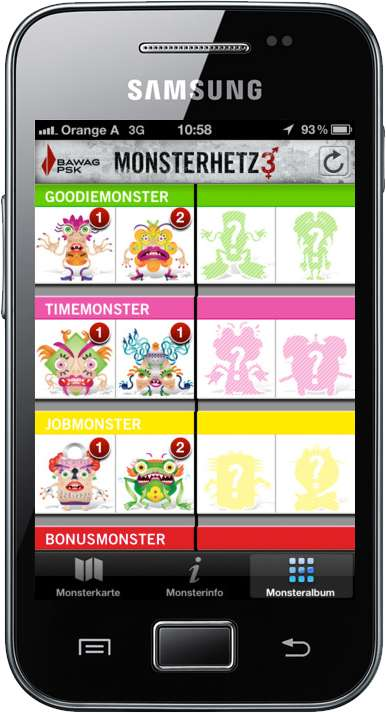 Once the user has more than 1 monster of a kind, he can release it on the map. Other users can collect the monster. Monsters appear with different probabilities. There are command and rare monsters.